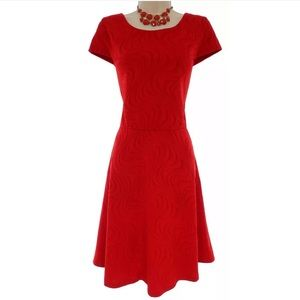 Size 12▪️RED TEXTURED SKATER DRESS Fit & Flare